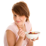 Woman with muesli Stock Photography