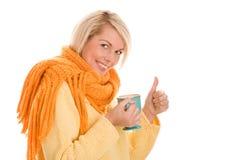Woman with mug Royalty Free Stock Image