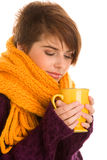 Woman drinking hot coffee Royalty Free Stock Image