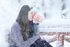 Woman with  mug of hot drink in winter park Royalty Free Stock Photography
