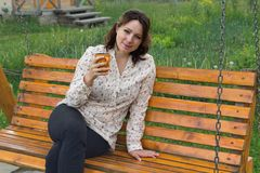 Woman with mug during the rest. People Royalty Free Stock Image