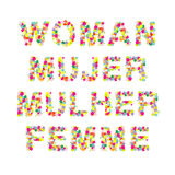 Woman Mujer Mulher Femme Word Stock Photography
