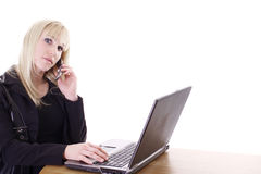 Woman multi-tasking Royalty Free Stock Images