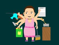 Woman multi tasking. Woman with six arms doing different household chores stock illustration