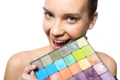 Woman with multicolored eyeshadow Stock Images