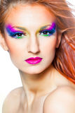 Woman with multicolored make-up Royalty Free Stock Photo