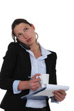 Woman multitasking Stock Photo