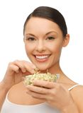 Woman with mung sprout beans Stock Photos