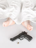 Woman murdered or committed suicide Royalty Free Stock Image