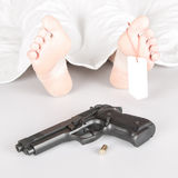 Woman murdered or committed suicide Stock Image