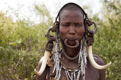 Mursi Woman. Woman from mursi tribe - Ethiopia, Africa Royalty Free Stock Image