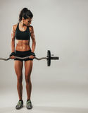 Woman with muscular physique lifting barbell. Beautiful young single woman in shorts with muscular physique lifting barbell over neutral background with copy Royalty Free Stock Image