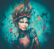 Woman muse with body art Royalty Free Stock Photo