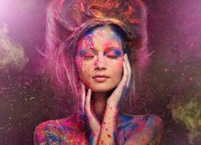 Woman muse with body art Stock Photo