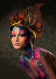 Woman muse with body art Stock Image