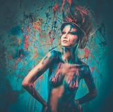 Woman muse with creative body art Stock Photography