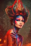 Woman muse with creative body art Royalty Free Stock Image