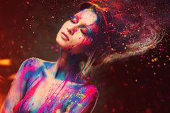 Woman muse with creative body art Royalty Free Stock Photography