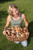 Woman and mushrooms basket Royalty Free Stock Photos