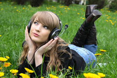 Woman and music Stock Photos