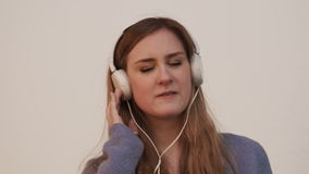 Woman and music stock video footage