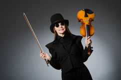 The woman in musical art concept Stock Photos