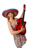 Woman in musical concept with guitar on white Royalty Free Stock Image