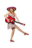 Woman in musical concept with guitar on white Royalty Free Stock Photos