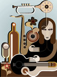 Woman with musical instruments. Vector background. Abstract art application Stock Photo