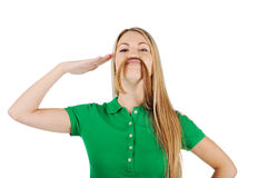 Woman with mustache Royalty Free Stock Image