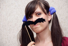 Woman with mustache Royalty Free Stock Photo