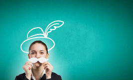 Woman with mustache Royalty Free Stock Photography