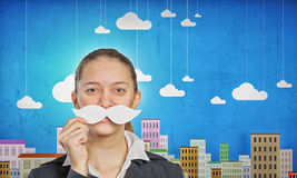 Woman with mustache Stock Image