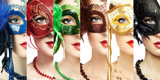Woman in mysterious Venetian mask Royalty Free Stock Image