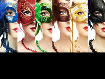 Woman in mysterious Venetian mask Stock Image