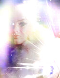 Woman Mystery Composition. Woman Manikin with light bursts Stock Photography