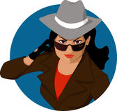 Woman of mystery. Young woman in a man's hat, trench coat and sunglasses, posing as a secret agent or a spy,  cartoon Stock Image