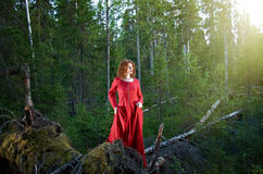 Woman the mystical forest Royalty Free Stock Image
