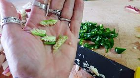 Woman`n hand showing jalapeno innards stock images