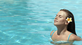 Woman n the pool Royalty Free Stock Photo