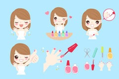 Woman with nail beauty. Cartoon woman with nail beauty on blue background stock illustration