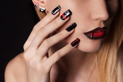 Woman with Nail design manicure. Young woman with manicure.Beautiful model with make-up.Nail design Royalty Free Stock Images