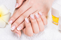Woman in a nail salon receiving manicure Royalty Free Stock Photography
