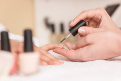Woman in nail salon receiving manicure by beautician. royalty free stock photo