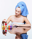 Woman with nail varnish Stock Image