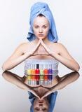 Woman with nail varnish Royalty Free Stock Photos