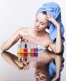 Woman with nail varnish Stock Photos