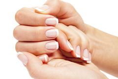 Woman nails. Care for sensuality woman nails Stock Photos