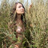 Woman with naked breast in countryside Royalty Free Stock Photos
