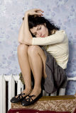 Woman and naked knees Royalty Free Stock Photos